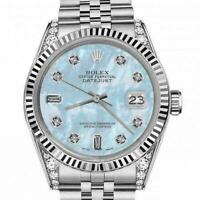 Ladies 26mm Rolex Datejust SS Baby Blue MOP Mother Of Pearl Baguette Dial Classi