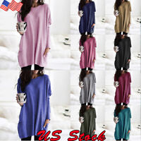 PLUS SIZE Women's Long Sleeve Tunic Tops Ladies Loose Jumper Pullover Blouse US