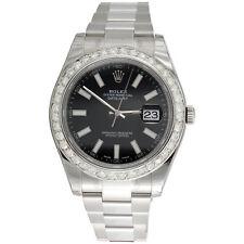 Мужские 41 мм 116300 Rolex Datejust II настоящий бриллиант часы черный циферблат палки 2.75 кар