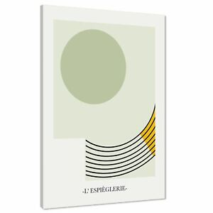 Abstract Sage Green Yellow Geometric Painting Canvas Wall Art Print