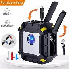 12V Portable Bike Car Digital Tyre Inflator Air Pump & LED Lamp Pressure Gauge