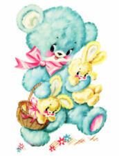 Vintage Image Retro Nursery Baby Blue Bear Bunnies Waterslide Decals An752