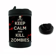 Black Metal Car Ashtray Keep Calm and Kill Zombies Design-019