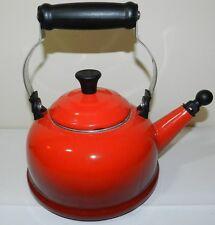 Le Creuset = RED = 1.7 QT Quart Whistling Tea Kettle Teapot  ss18