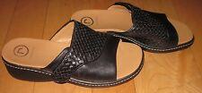 Rockport Wms Black Leather Slide Sandals 6.5 *Sharp Must C*
