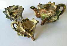 Vintage Sea Green Conch Shell Shaped Ceramic Teapot sugar bowl and milk jug