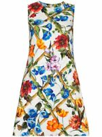 $1495 Dolce & Gabbana AUTH NEW Bamboo Floral Insects Matching Lining Dress 44