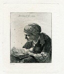 Rembrandt etching print 1880 year La Liseuse