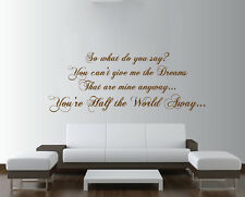 OASIS Half the World Away Lyrics Large Wall Art ROCK Quote Bedroom Sticker Decal