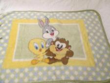 Baby Looney Tunes Plush Blanket 30 X 45 Soft Bugs Bunny Tweety Taz Green Blue
