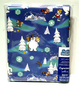 Warner Bros Frosty the Snowman Blue Christmas Wrapping Paper 20 Sq Ft Grid Back