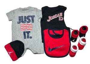 NIKE & JORDAN BABY Boys 6-Pc GIFT Set: Bodysuits, Cap, Bib & Booties 0-6 Months.