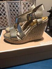 Michael Kors Giovanna Women's Pale Gold Metallic Leather Wedge Heel Sandals, 10