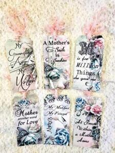Set of 6 Hang Tags~Vintage Mothers Day Saying~Gift Tags~Scrapbooking~Cards~#97R