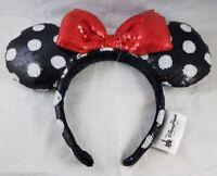 Disney Parks Minnie Mouse Bow Ears Headband Polka Dot Sequin Red Black - NEW