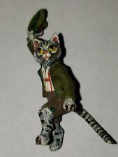 ANTIQUE VIENNA BRONZE German cat hat dancing BERGMANN COLD PAINTED, MARKED;NOS