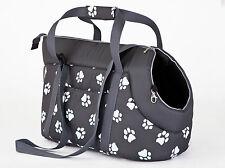 Transporttasche Hunde Katzen Transportbox Tragetasche grau mit Pfötchen R1 20x36