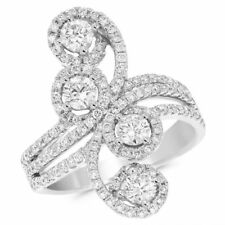 Right Hand Long Finger Cocktail Ring 14K White Gold Pave Round 1.51C Diamond