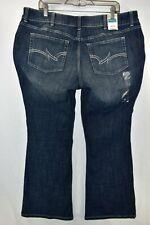 New Wrangler Premium Demin Boot Cut Stretch Blue Jeans Womens Plus Size 20W x 30