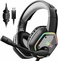 Gaming Headset 7.1Surround Sound Stereo USB Headphones Noise Canceling RGB Light