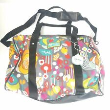 Lily Zen Lily Bloom Bliss Grey Overnight Duffle Travel Large Tote Shoulder Bag