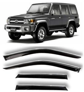Chrome Trim Window Visors Guard Vent Deflectors For Toyota Land Cruiser J76 07-