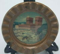 "RARE Vintage Souvenir Ashtray Copper w Glass Inlay Over Image - Oslo Norway 4"" D"