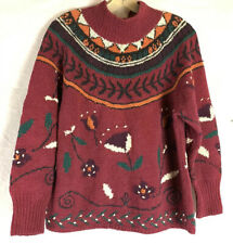 Vintage Jennifer Reed Knitted By Hand Maroon Ugly Sweater Womens Size Medium