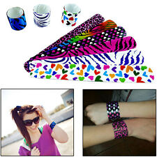 Slap Bracelets 50Pcs Assorted Color Animal/Hearts Print Slap Wrap Wrist Bands
