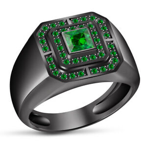 1.50 CARAT GREEN SAPPHIRE MENS BLACK GOLD FINISH ENGAGEMENT PINKY RING BAND