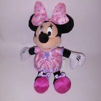 "Minnie Mouse Stuffed Animal Plush Disney Pink Purple Dress Kids Toy 9.5"""