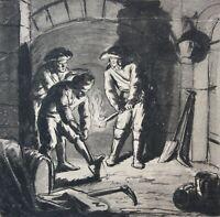 """Zeichnung """"Graben bei Fackelschein im Keller"""", """"Chasse au salpêtre"""", Ende 18. Jh"""