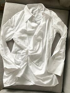 Helmut Lang white button up knotted shirt top blouse large