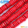 Red Coral Gemstone Rondelle Spacer Disc Beads For Jewelry Making Free Shipping