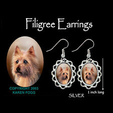 Australian Terrier Dog - Silver Filigree Earrings Jewelry