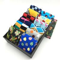 5 Pairs Mens Box Cotton Socks Lot Colorful Novelty Dress Crew Socks For Men Gift
