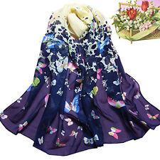 LC_ EG _ Femme Papillon Imprimé Floral mousseline souple long doux châle écharpe