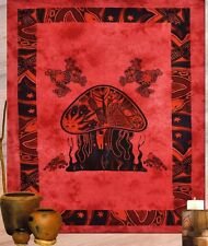 Red Indian Mushroom Psy Tapestry Throw Wall Hanging Cotton Bedspread Tapestries