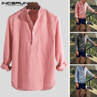 Men's Cotton Striped V-Neck Tops Long Sleeve Cool Shirt Loose Casual Beach Shirt