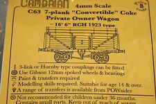 "CAMBRIAN C63 KIT 7 PLANK CONVERTIBLE COKE P/O WAGON16' 6"" RCH 1923 TYPE NEW  OO"