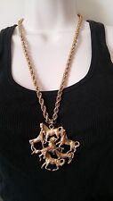 Vintage Les Bernard Horse Necklace Signed, Cluster of Horses Pendant, Statement