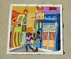 FIDALGO Cuban Street Scene Art Figures on Colorful Street La Bodeguita DelMedio