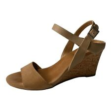 Tahari Womens Fun Cork Wedge Strappy Sandals Size 7M Tan Brown Leather Suede
