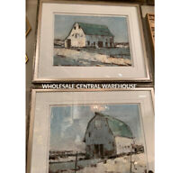 "TWO 34"" FARMHOUSE BARN FRAMED PRINTS PICTURES URBAN MODERN WALL ART UTTERMOST"