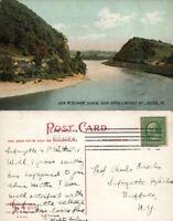 EASTON PA DELAWARE RIVER INDIAN RAPIDS & WEYGADT MT. 1908 ANTIQUE POSTCARD