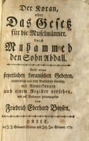 Erstausgabe des Koran auf Deutsch. (F.E.Boysen 1773)