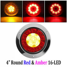 1`* Round Led Taillights Stop Brake Parking Running Lights Red Amber Replacement