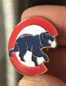 Chicago Cubs Stadium Pin - Red C Blue Bear White Background