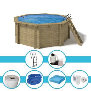 Holzpool Kalea 436x138cm 0,8mm blau KomplettSet Pool Achteckpool Filteranlage