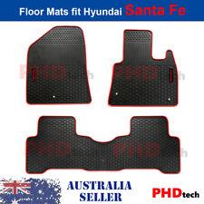 Premium Quality All Weather Rubber Car Floor Mats HYUNDAI SANTA FE  12~  RedLogo